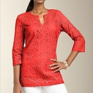 Talbots Eyelet Tunic Top with Side Slits 12